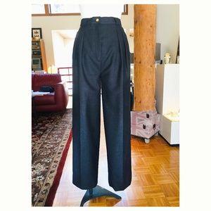 vtg CHANEL High Waisted Wide Leg Grey Wool Pants